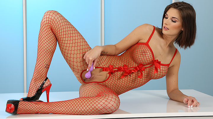 Porn Video Red Fishnet Stockings